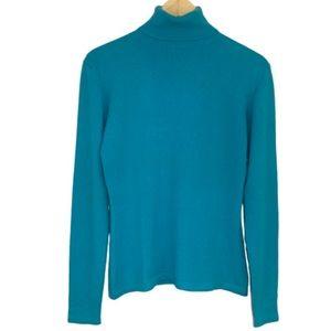 TSE cashmere turtle neck sweater turquoise large